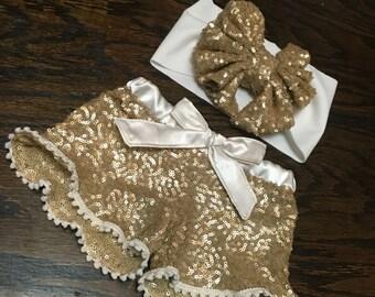 Gold and ivory sparkle shorts, gold baby shorts, sequin shorts, sequin shorts for babies, sequin kids shorts
