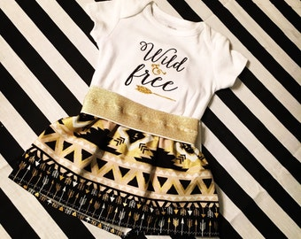 Wild and Free onesie and Skirt, Aztec skirt for baby, baby clothes, baby skirt, baby onesie