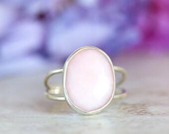 Pink Opal Ring, Rose Cut Pink Opal Ring, Pink Peruvian Opal Ring