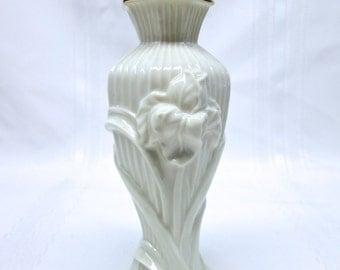 Vintage Lenox Ceramic Floral Bud Vase - White with Gold Rim