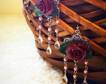 Vintage Rose Chandelier Earrings, Clay Rose Vintage Victorian Chandelier Earrings Ready to Ship