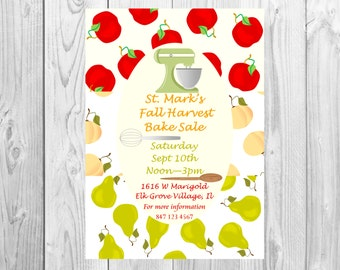School Bake Sale flyer, Fall Harvest baking contest, Pie competition, Apples Peaches and Pears. Posters sized to order, Perfect for invites,