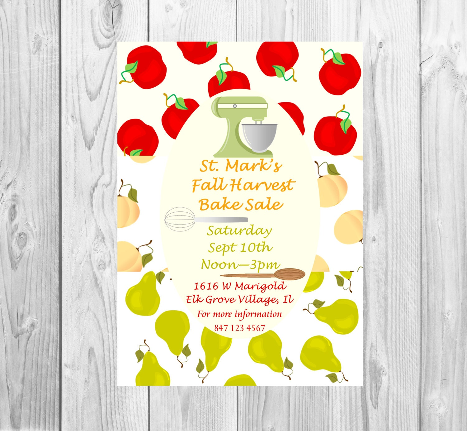 church flyer school bake flyer fall harvest baking contest pie competition apples peaches and pears posters sized to order perfect for invites