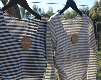 On SALE now** Rrp 79.00. NEW & LIMITED!!! Stripe Organic Cotton / Linen Maternity Long Sleeve Top- fabric from Japan!!