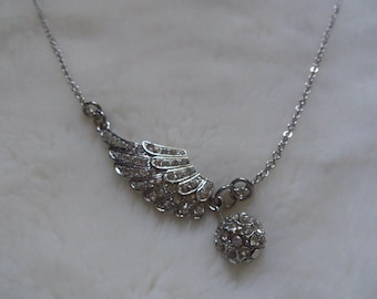 crystal feather ball charm necklace