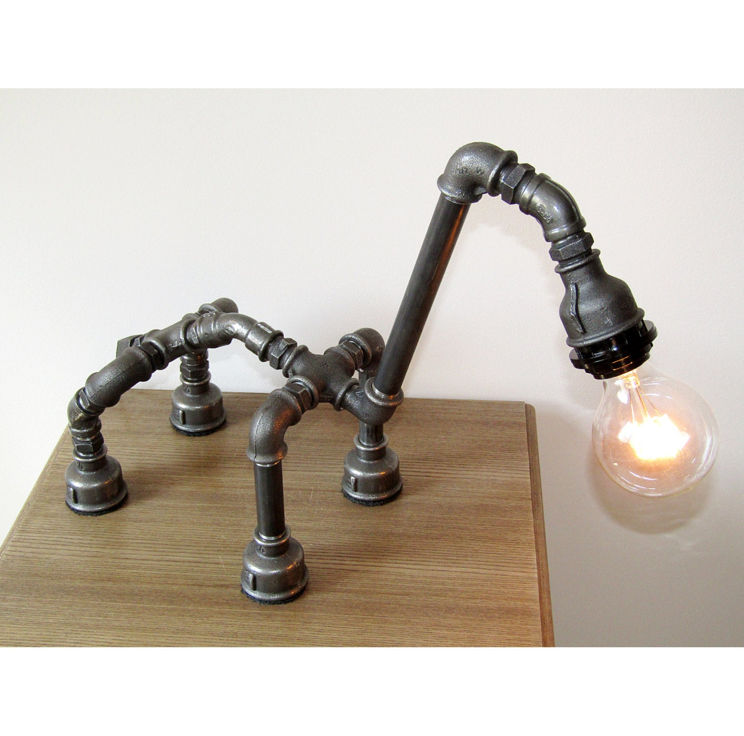Robot camel table lamp pipe lamp iron pipe lamp for Industrial pipe light socket