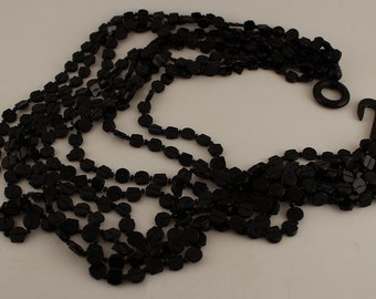 Victorian  Mourning Multi-Strand Vulcanite Jet Black Necklace