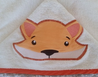 Personalized bath towel. Out of bath. Hooded towel. Applied hood choice. Embroidered name. Pool towel
