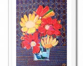 Flower Bouquet Archival Print Poster, Flower Art Wall Decoration