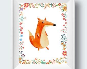 nursery printable, nursery wall art, nursery wall art printable, fox nursery art, fox children's decor, woodland art, nursery prints, fox