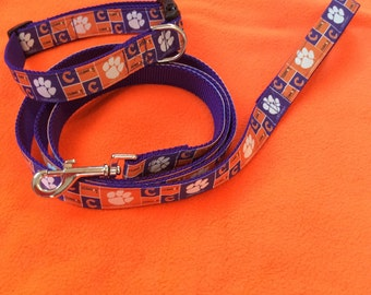 "Clemson Dog Collar & Leash set 1"" width"