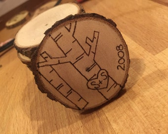 Personalized Hand-Burned Wooden Ornament