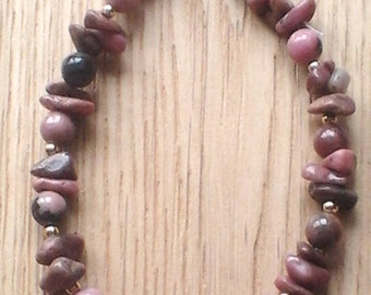 Rhodonite semi-precious gemstone crystal Reiki healing positive energy bracelet