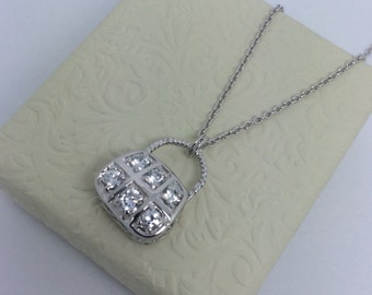 Rhodium Sterling Silver Purse Necklace