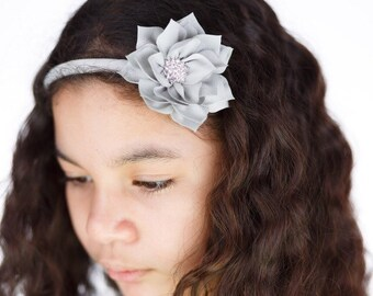 Gray flower headband - hard headband - grey flower hair band - girls hard headband - gray arch headband - girls hard hair band - hair band