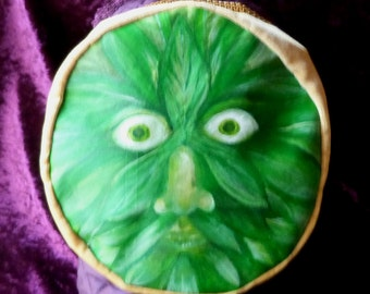 Hand Painted one of a kind Green Man Smoking Cap Style Hat