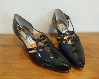Vintage ROS HOMMERSON Women's Black Patent Leather Size 6M Pumps Heels Strappy Cage Retro Mod Holiday Dressy Heeled Shoes T-Strap Ladies