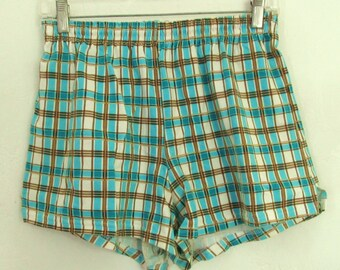 Cute Vintage 90's TURQUOISE Plaid Cotton Running Shorts By SOFFE.L