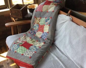 FREE SHIPPING - Vintage Patchwork Quilt - Farmhouse Quilt - Antique Quilt - Primative Quilt