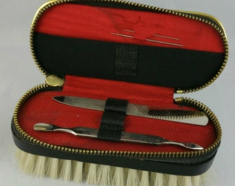 Vintage Travel Manicure Set With Clothes Brush, Embroidered Nail Grooming Kit,