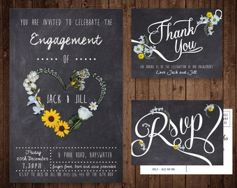 Engagement Invitation Set - Custom Digital File