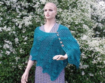 Crochet ladies Lacy Shell Shawl Pattern DIGITAL DOWNLOAD ONLY