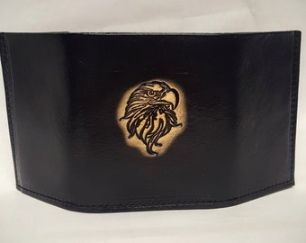 Eagle Head Bifold or Trifold Leather Wallet
