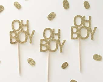 OH BOY Cupcake Toppers, it's a boy toppers, boy babyshower cake, gender reveal cupcakes, team blue toppers