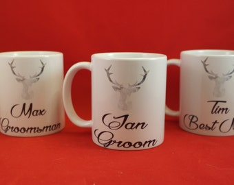 Groomsmen personalised   gift mug, photo prop, stags head detail, usher gift, best man, Father of the bride gift