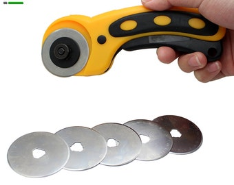 45mm Rotary Cutter Set with 5PC Spare Blades Fit Olfa Dafa Fiskars Rotary Cutter Fabric Paper Circular Patchwork Craft Leather