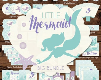 Mermaid Baby Shower Decor, Little Mermaid Baby Shower Decorations, Under the Sea Printable Baby Shower, Under the Sea Shower Decor