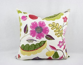 Pink, Green, Red, and Purple Floral Cotton Pillow Cover, Handmade, 18 x 18 in., 20 x 20 inch, Toss Pillow, Throw Pillow, Accent Pillow