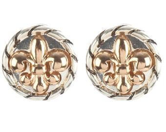 FLEUR DE LIS (Two Tone w/Gold Fleur De Lis) Stud Earrings