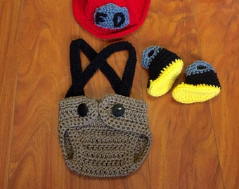Crochet Baby Firefighter Costume