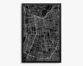 Santiago Street Map, Santiago Chile, Modern Art Print, Santiago Decor, Santiago Gift Idea, Chile Decor, Chile Gift, Office Decor, Home Decor