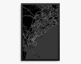 Panama City, City Street Map, Panama City Panama, Modern Art Print, Panama Decor, Panama Gift Idea, Office Decor, Home Decor, Gift Idea