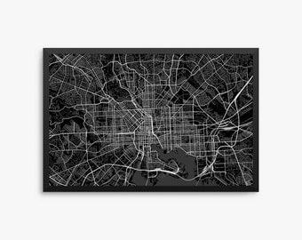 Baltimore City Street Map, Baltimore Maryland USA, Modern Art Print, Office Decor, Decor, Baltimore Decor, Baltimore Map, Baltimore Poster