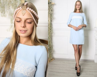 A pretty babydoll dress mini short brief blue blended linen gauze lace tulle lace 3/4 sleeved shift dress