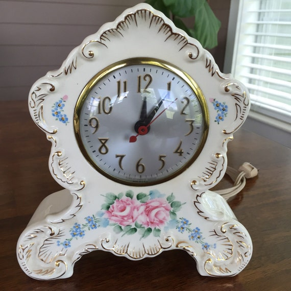 Vintage Johnson Hand Decorated China Clock Mid Century