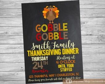 Thanksgiving Dinner Invitation / Gobble Gobble / Dinner Party Invitation / Friendsgiving Invitation / Printable File