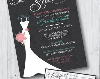 Lace Bridal Shower Invitation with Recipe Card