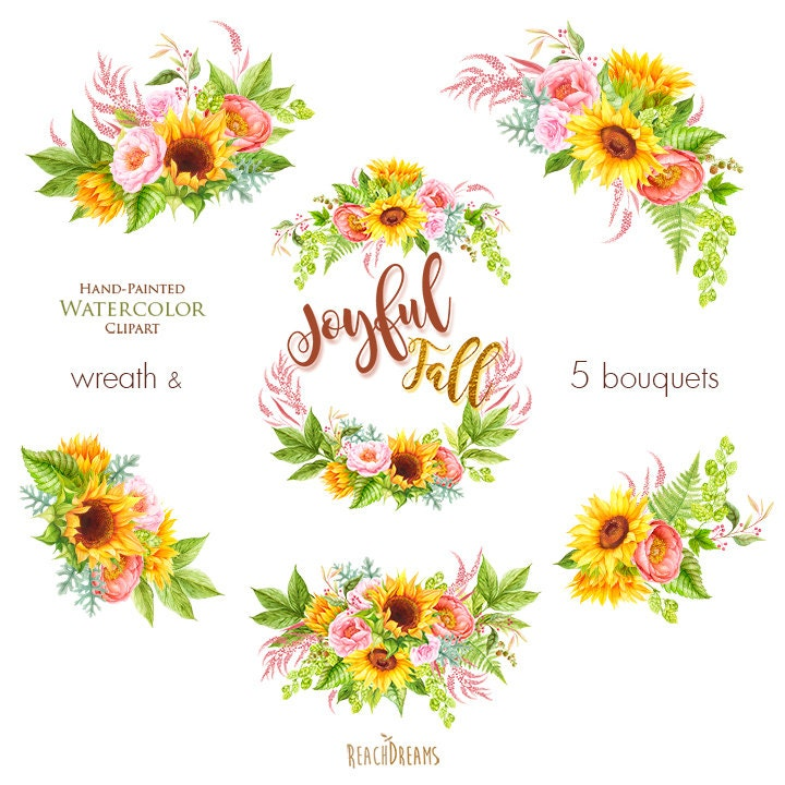 Watercolor Sunflower, Peonies, Roses, Fall clipart, Autumn ...
