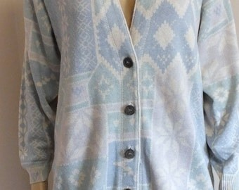 IB Diffusion knitted buttoned front cardigan Sweater size S Mint condition. vtg from 80's.