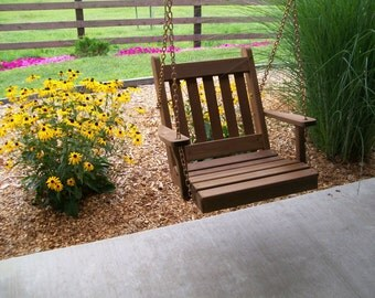 2 Foot Traditional English Cedar Porch Swing Chair - *UNFINISHED* Handmade - Amish made in the USA