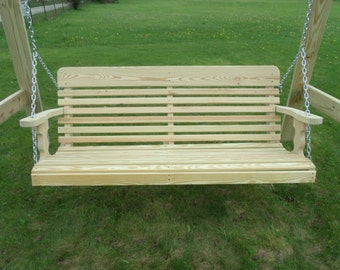 4 Foot Unfinished Pressure Treated Pine Designs Classic Porch Swing with Chains - Amish Made in the USA