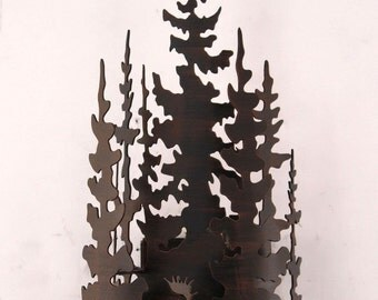Rustic Country Indoor Iron Moose with Pine Trees Sconce - Model # 15-R14E - Made In the USA - Free Shippping