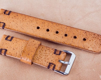 22mm, 120 / 70mm - Leather watch strap with pattern of sandpaper, natural color, hand made, with buckle