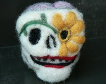 Needle Felted:  Day of the Dead Skull