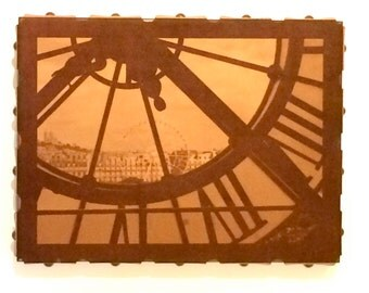Musee d'Orsay Clock Leather Wall Hanging