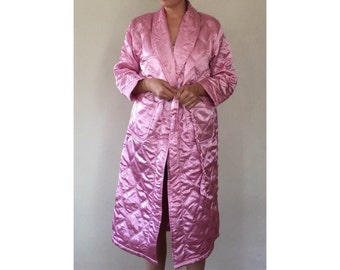 Shiny Pink Quilted Robe - Full Length Housecoat - Bathrobe